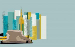 Ilustração de prédios da Nova York ao fundo, com touro símbolo do mercado acionário americano cabisbaixo em primeiro plano