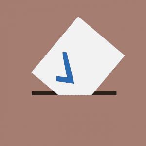"""Ilustração de envelope branco com um símbolo de """"checked"""" azul sendo colocado em uma urna."""