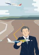 Joint venture entre Boeing e Embraer. Ilustração de homem com broche da Embraer segura em suas mãos uma pequena aeronave com as cores da bandeira do Brasil, enquanto um avião com as cores americanas decola no segundo plano.