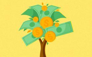 Árvore com notas de dinheiro e moedas no lugar de folhas e frutos