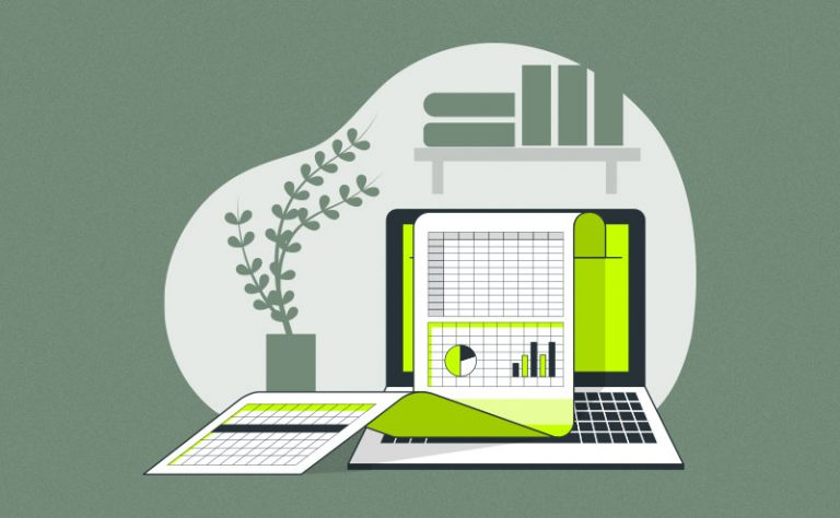 Ilustração de planilha em um computador de escritório